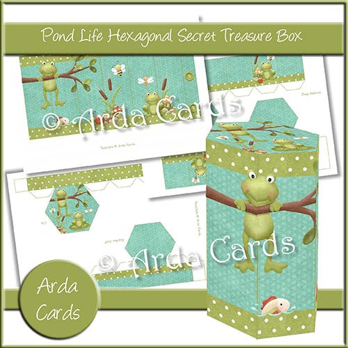 Pond Life Hexagonal Secret Treasure Box - The Printable Craft Shop