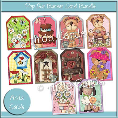 Pop Out Banner Card Bundle - ALL 10 Printable Kits - The Printable Craft Shop