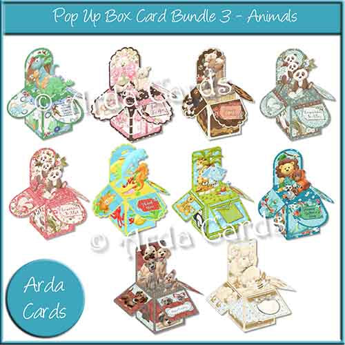 printable 3D pop up box card bundle from crafting4good