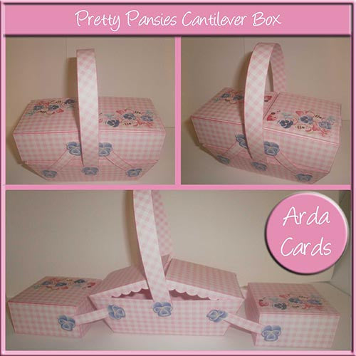 Pretty Pansies Cantilever Box - The Printable Craft Shop
