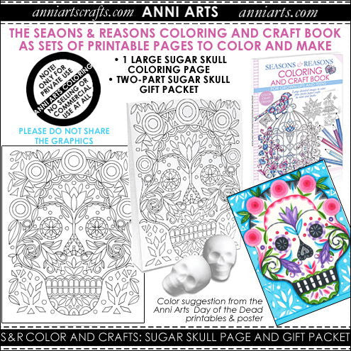 Colour & Make: Sugar Skull Colouring Page & Packet - The Printable Craft Shop