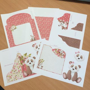 Pink Panda Paws Wrap Around Gatefold Card