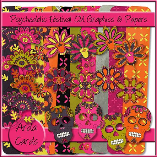 Psychedelic Festival CU Graphics & Papers - The Printable Craft Shop