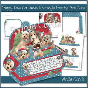 Puppy Love Christmas Rectangle Pop Up Box Card Printable