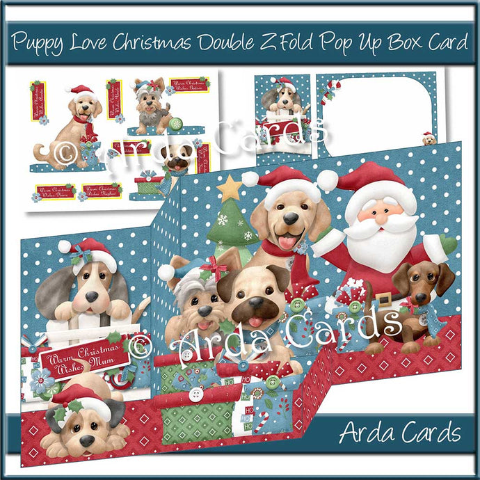 Puppy Love Christmas Double Z Fold Card