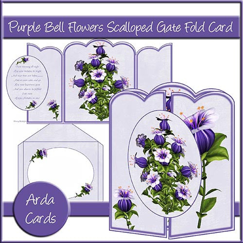 Purple Bell Flowers Scalloped Gate Fold Card - The Printable Craft Shop