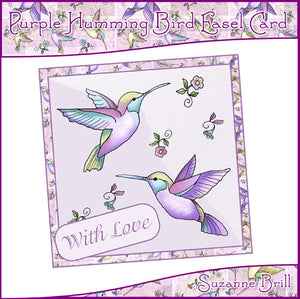 Purple Humming Bird Easel Card - The Printable Craft Shop
