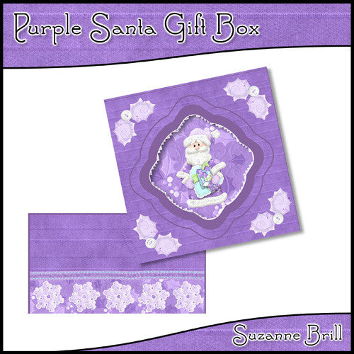 Purple Santa Gift Box - The Printable Craft Shop
