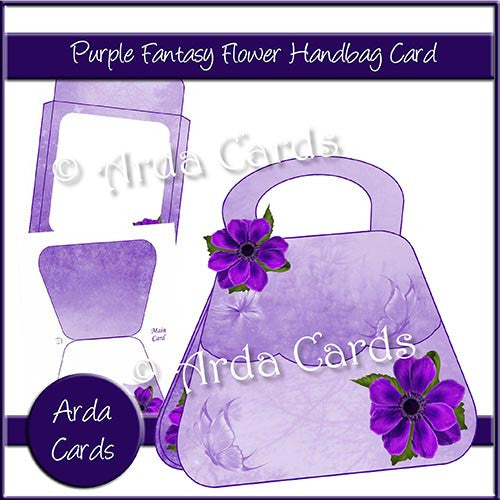 Purple Fantasy Flower Handbag Card - The Printable Craft Shop