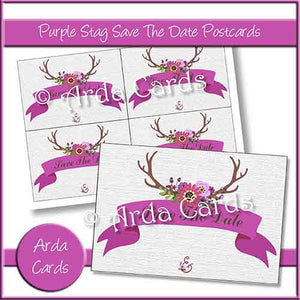 Purple Stag Save The Date Postcards