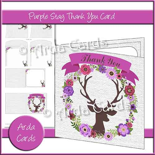 Purple Stag Thank You Card