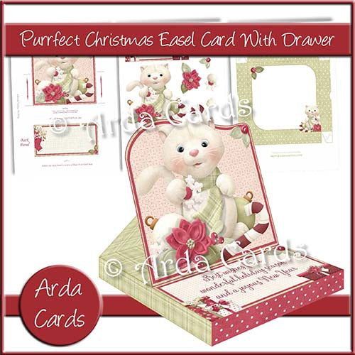 Purrfect Christmas Easel Card With Drawer - The Printable Craft Shop