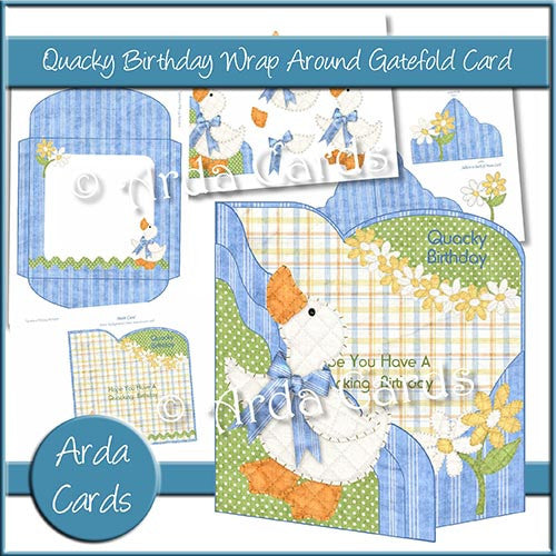 Quacky Birthday Wrap Around Gatefold Card - The Printable Craft Shop