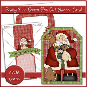 Really Nice Santa Pop Out Banner Card - The Printable Craft Shop