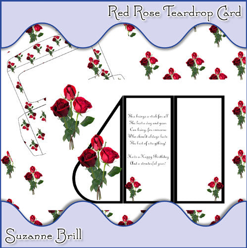 Red Rose Teardrop Card - The Printable Craft Shop