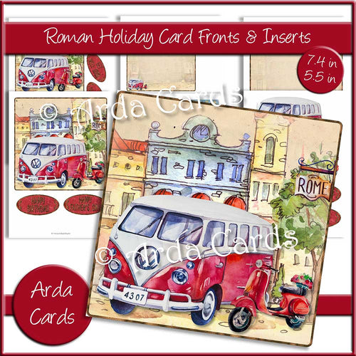 Roman Holiday 7.4in & 5.5in Card Fronts & Inserts