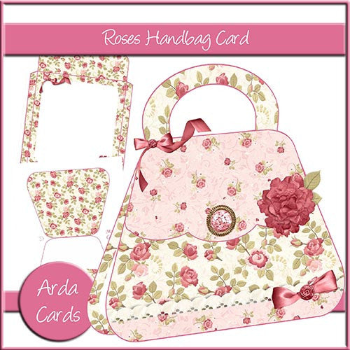 Vintage Roses Handbag Card - The Printable Craft Shop