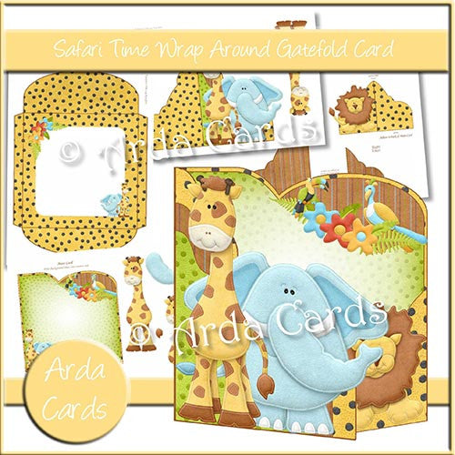 Safari Time Wrap Around Gatefold Card - The Printable Craft Shop