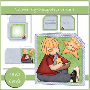 Sailboat Boy Scalloped Corner Card - The Printable Craft Shop