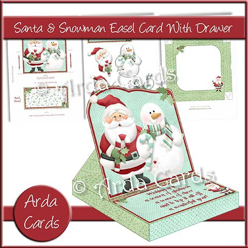Santa & Snowman Easel Card With Drawer - The Printable Craft Shop