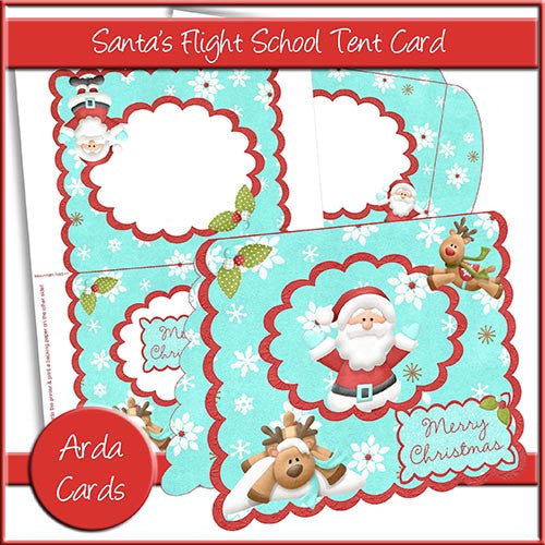 Santa's Flight School Tent Card - The Printable Craft Shop
