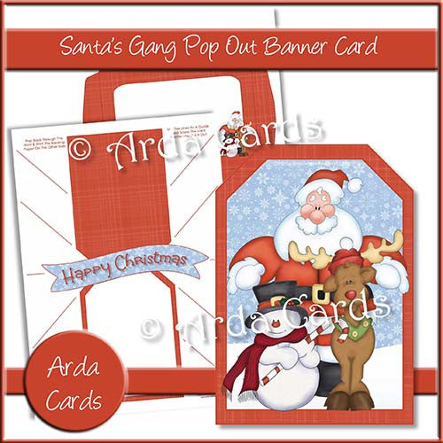 Santa's Gang Pop Out Banner Card - The Printable Craft Shop