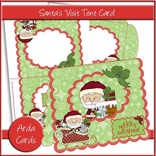 Santa's Visit Tent Card - The Printable Craft Shop
