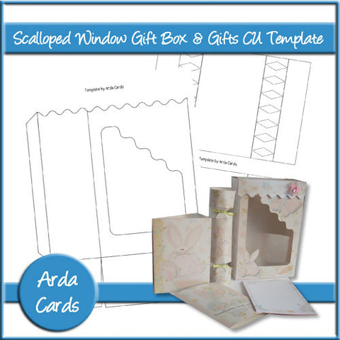 Scalloped Window Gift Box & Gifts CU Template