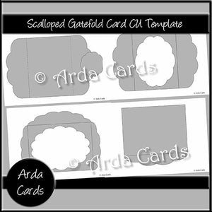 Scalloped Gatefold Card CU Template - The Printable Craft Shop