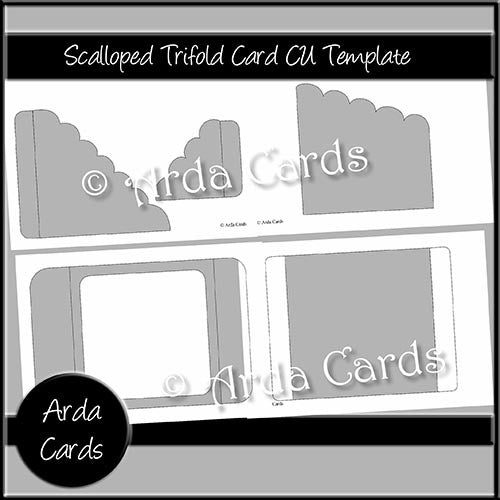 Scalloped Trifold Card CU Template - The Printable Craft Shop