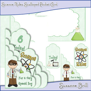 Science Rules Scalloped Pocket Card - The Printable Craft Shop