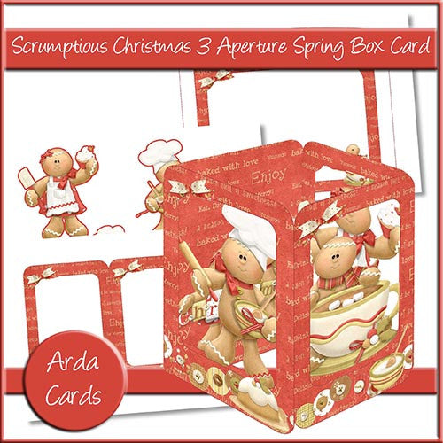 Scrumptious Christmas 3 Aperture Spring Box Card - The Printable Craft Shop