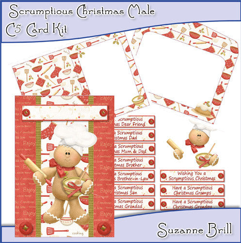 Scrumptious Christmas Male C5 Card Kit - The Printable Craft Shop