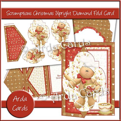 Scrumptious Christmas Upright Diamond Fold Card - The Printable Craft Shop