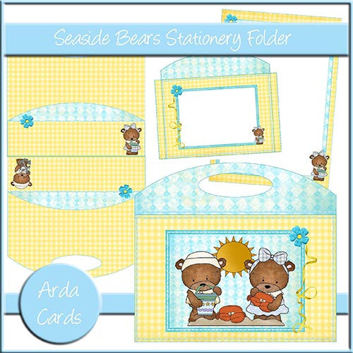 Seaside Bears Stationery Folder - The Printable Craft Shop