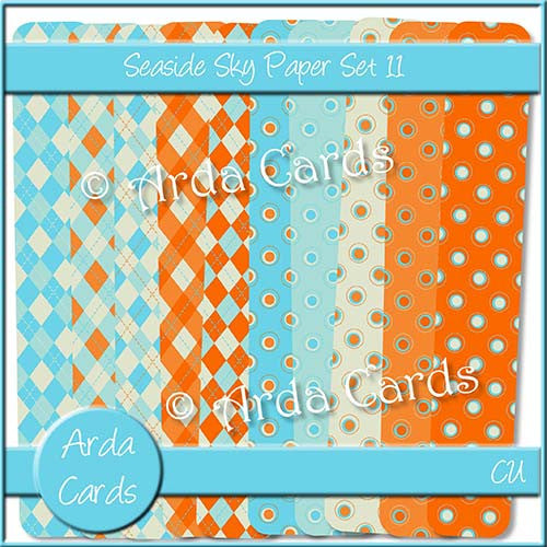 Seaside Sky Paper Set 11 - The Printable Craft Shop