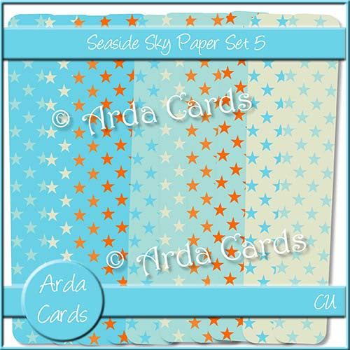 Seaside Sky Paper Set 5 - The Printable Craft Shop