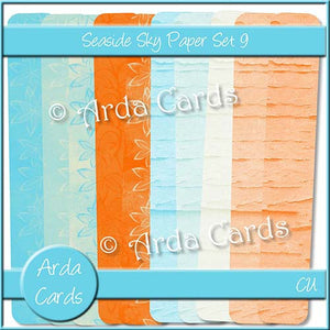Seaside Sky Paper Set 9 - The Printable Craft Shop