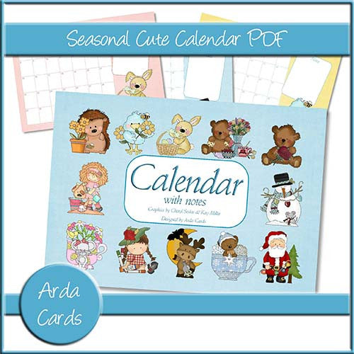Seasonal Cute Calendar PDF - The Printable Craft Shop