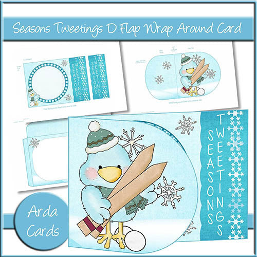 Seasons Tweetings D Flap Wrap Around Card - The Printable Craft Shop