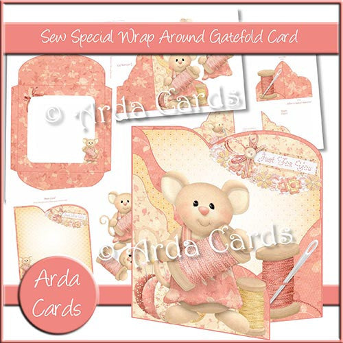 Sew Special Wrap Around Gatefold Card - The Printable Craft Shop