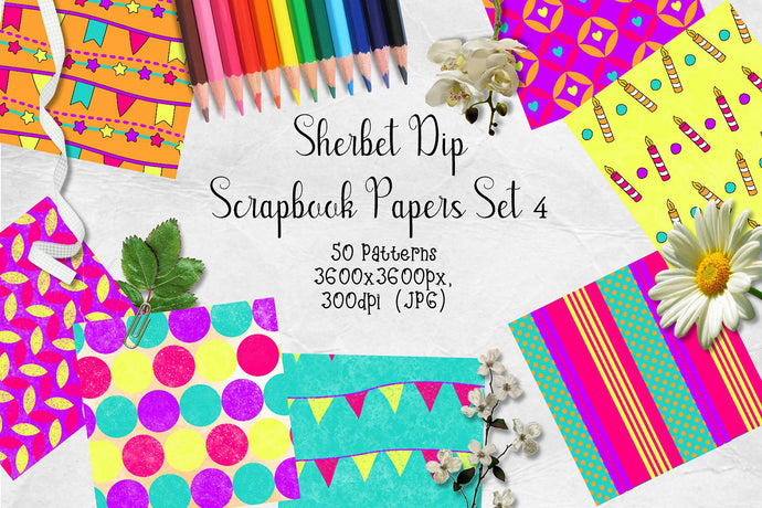 Sherbet Dip CU Scrapbook Papers Set 4