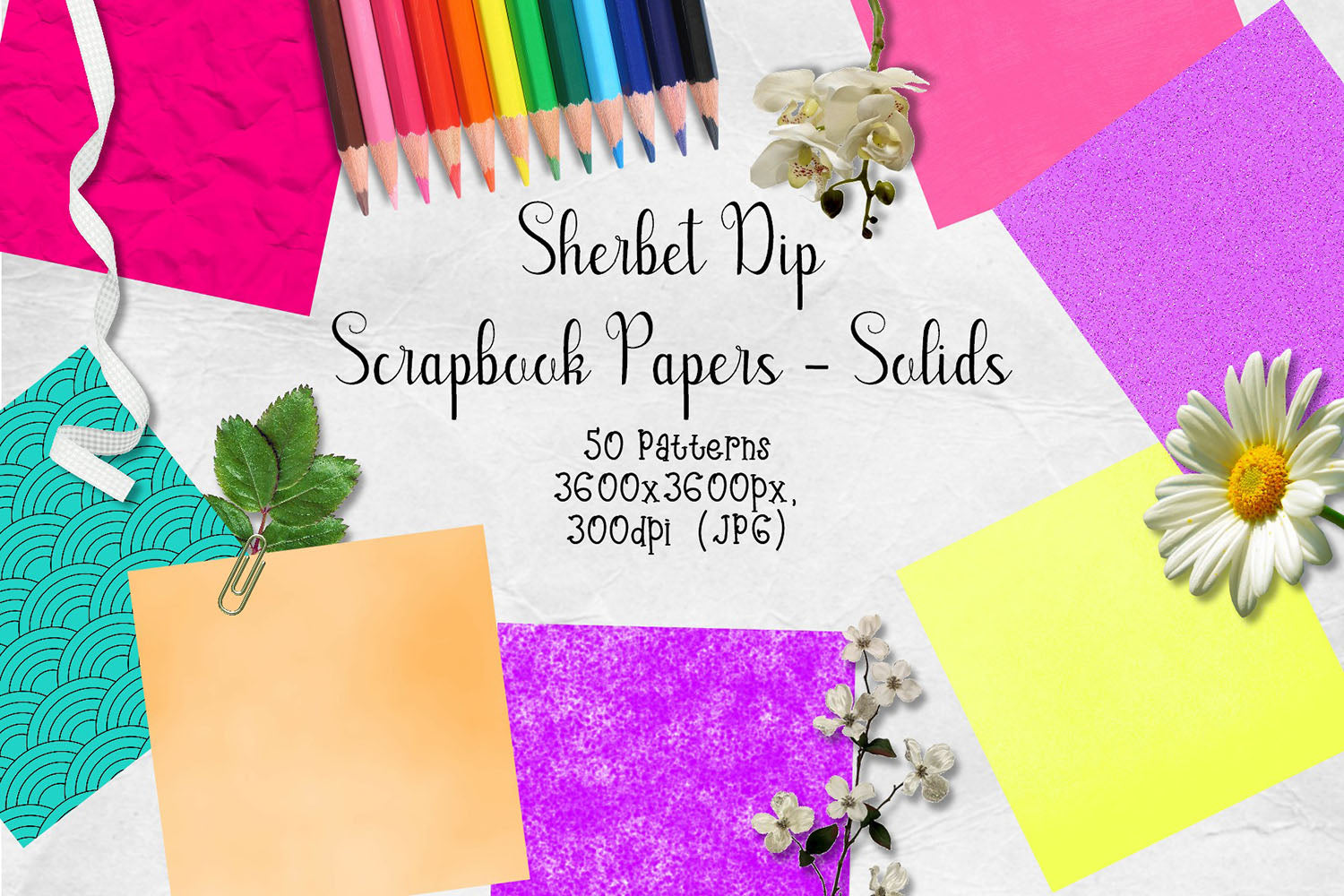 Sherbet Dip CU Scrapbook Papers - Solids