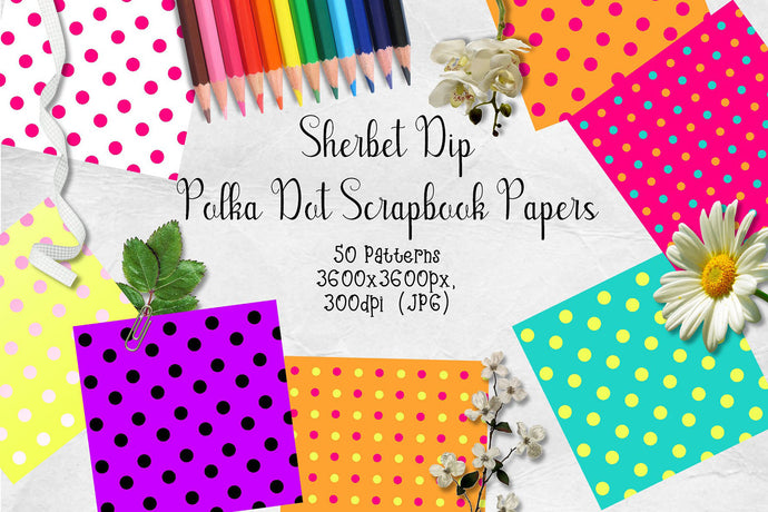 Sherbet Dip CU Scrapbook Papers - Polka Dots