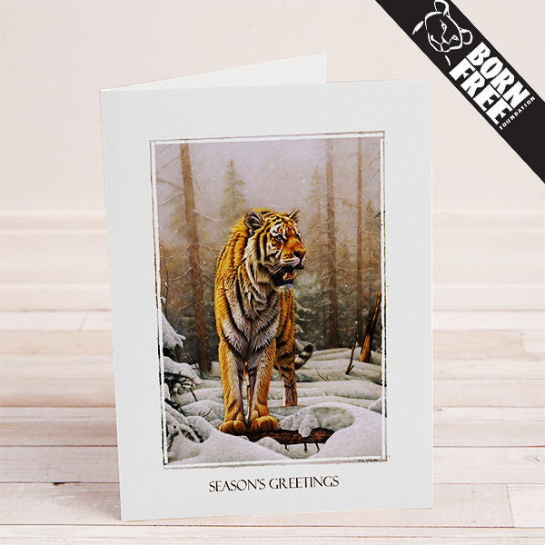 Siberian Tiger Printable Charity Christmas Card - The Printable Craft Shop