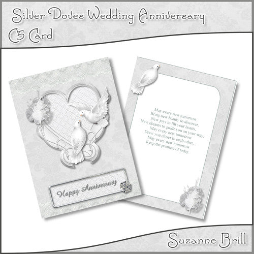 Silver Doves Wedding Anniversary C5 Card - The Printable Craft Shop