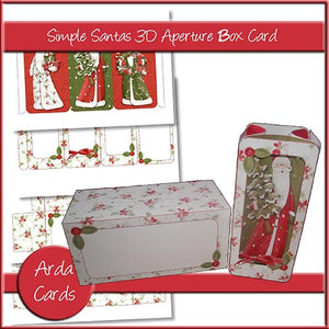 Simple Santa 3D Aperture Box Card - The Printable Craft Shop