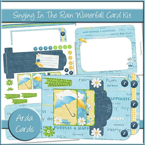 Singing In The Rain Waterfall Card Kit - The Printable Craft Shop
