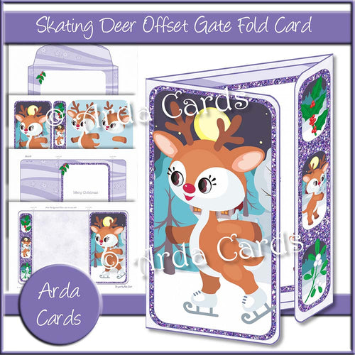 Skating Deer Offset Gate Fold Card