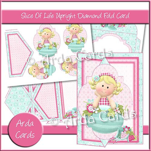 Slice Of Life Upright Diamond Fold Card - The Printable Craft Shop